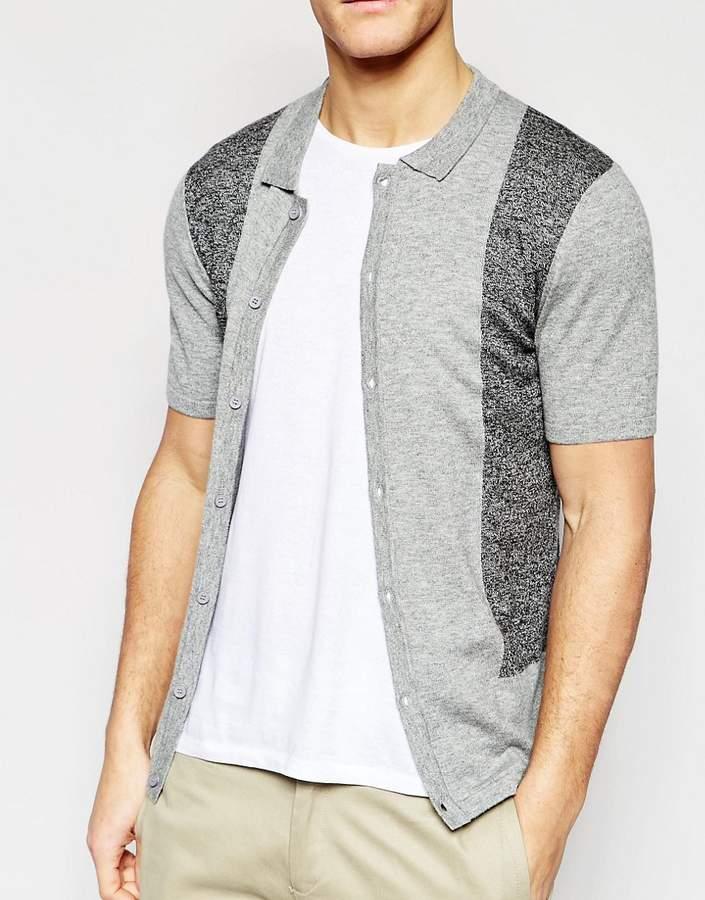 Asos Merino Wool Mix Short Sleeve Turtleneck Cardigan