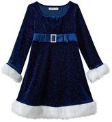 Bonnie Jean Girls 4-6x Velvet Stretch Empire Santa Dress