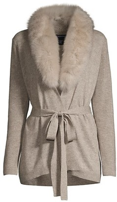 Sofia Cashmere Fox Fur-Trimmed Belted Cashmere Cardigan