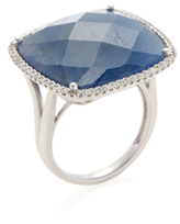 Meira T 14K White Gold, Blue Sapphire & 0.33 Total Ct. Pave Diamond Square Ring