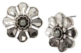 Miriam Haskell New York Stone Cluster Flower Stud Earrings