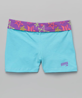 Soffe Light Turquoise & Grape Star Cutie Shorts - Girls