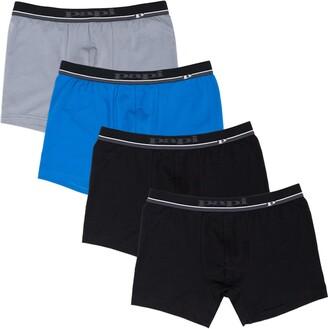 Papi Men's Cotton Stretch Logo Solid Boxer Briefs Pack of 4
