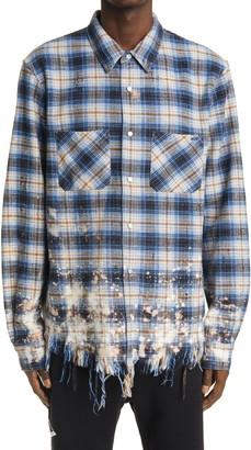 Amiri Distressed Bleached Men's Flannel Shirt