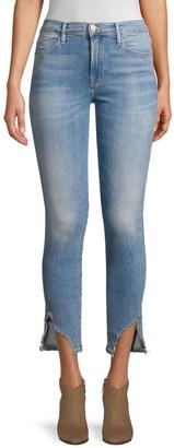 Frame Le High Skinny Sharkbite-Hem Jeans