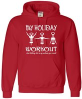 Go All Out Screenprinting Adult My Holiday Workout Funny Christmas Wine Lovers Sweatshirt Hoodie