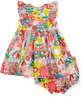 Stella McCartney August Floral Smocked Dress w/ Bloomers, Multicolor, Size 12-24 Months