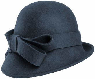Hawkins Collection Wool Felt Vintage Cloche Bow Hat in Navy Size: One Size