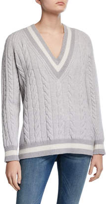 Rag & Bone Theon V-Neck Cable Knit Wool Sweater