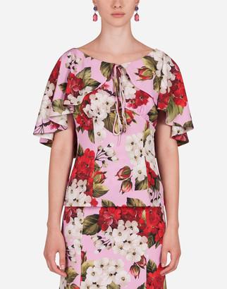 Dolce & Gabbana Geranium-Print Charmeuse Blouse