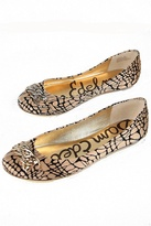 Carmen Ballet Flat in Black & Nude Pebble Silk Print