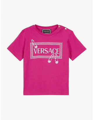 Versace Safety pin logo cotton-blend T-shirt 3-36 months