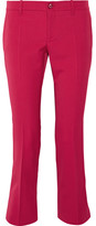 Gucci Cropped Stretch Wool And Silk-blend Flared Pants - Magenta