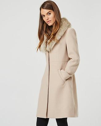 Le Château Faux Fur Trim Wool Blend Coat