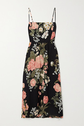 Reformation Rosehip Floral-print Georgette Midi Dress - Black