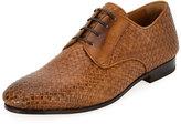 Salvatore Ferragamo Tramezza Woven Leather Oxford Shoe