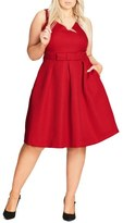 City Chic Big Bow Fit & Flare Dress (Plus Size)
