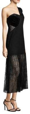 Three floor One-Shoulder Lace Gown