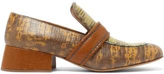 Chloé Cheryl Lizard-effect Leather Loafers - Tan Multi