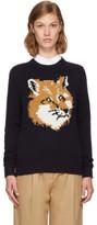 MAISON KITSUNÉ Navy Lurex Fox Head Sweater