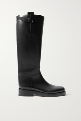 Ann Demeulemeester Buckled Leather Knee Boots - Black