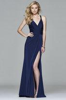 Faviana 7956 Faile satin v-neck evening dress with beaded strap