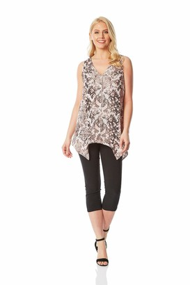 Roman Originals Women Notch Neck Snake Print Top - Ladies Work Office Everyday Smart Casual Holiday Animal Printed V-Neck Button Down Sleeveless Fashion Snakeskin Blouse Tops - Light Pink - Size 12