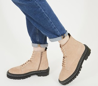 Office Alphabet Double Rand Lace Up Boots Nude Suede
