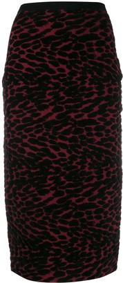 Diane von Furstenberg Knitted Leopard Pencil Skirt
