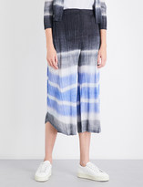 Pleats Please Issey Miyake Waterstripe wide high-rise pleated culottes