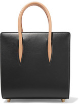 Christian Louboutin Paloma Small Studded Matte And Patent-leather Tote - Black