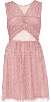 River Island Womens Pink cut out pleated lace prom dress
