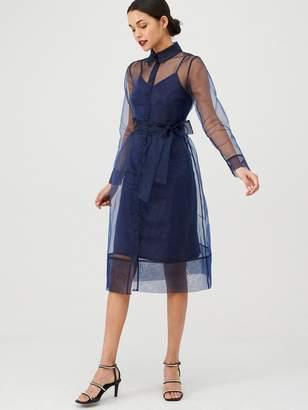 Very Organza Tie Waist Dress - Navy