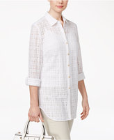JM Collection Petite Windowpane Shirt, Only at Macy's