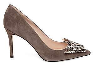 Kate Spade Women's Vanna Snakeskin Embossed Leather & Suede Point Toe Pumps