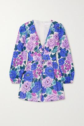 Zimmermann Poppy Floral-print Linen Playsuit - Lilac