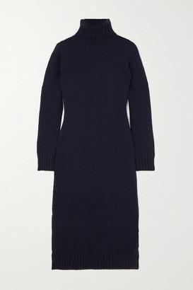 &Daughter + Net Sustain Simone Wool Turtleneck Midi Dress - Navy