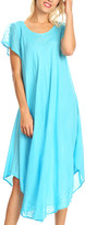 Sakkas Women's Casual Dresses Turquoise - Turquoise Embroidered Curved-Hem Midi Dress - Women