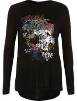 River Island Womens Black heatseal print long sleeve T-shirt