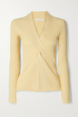 Dion Lee Twist-front Ribbed Stretch-knit Top - Ecru