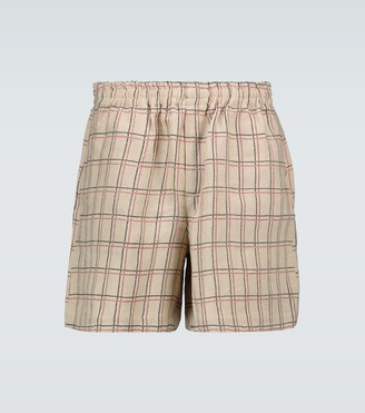 Bode Schoolhouse plaid rugby shorts