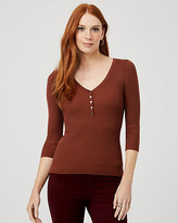 Le Château Rib Viscose Blend Henley Neck Sweater
