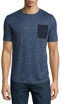 Michael Kors Linen Pocket Crewneck T-Shirt, Navy
