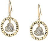 GUESS Heart Logo Drop Earrings (Gold) Earring