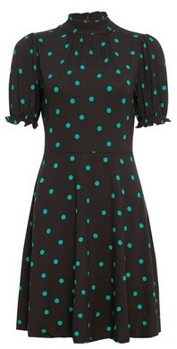 Dorothy Perkins Womens Green Spot Sheered Neck Dress, Green