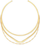 GUESS Gold-Tone Triple-Row Choker Necklace