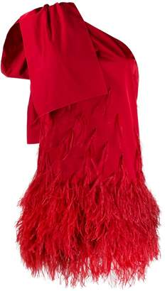 No.21 bow detail feathered dress