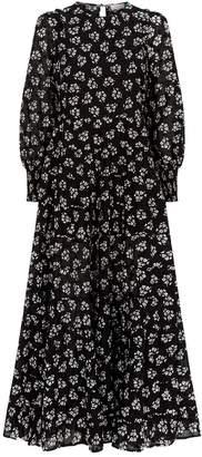 Rixo Pip Cotton Flocked Floral Midi Dress