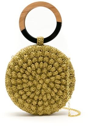 Serpui Marie Circle Popcorn crochet straw clutch