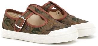 Pépé Kids T-Bar safari print shoes